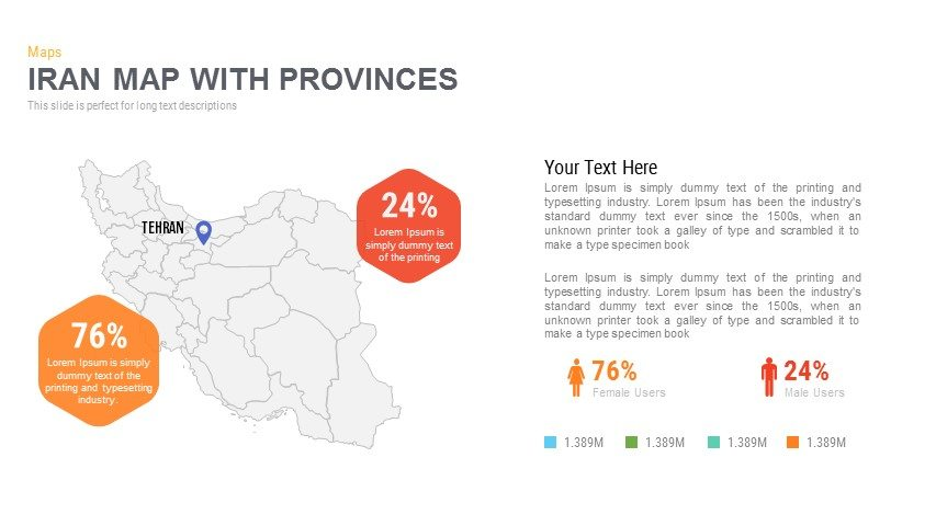 Iran Map With Provinces Powerpoint and Keynote template