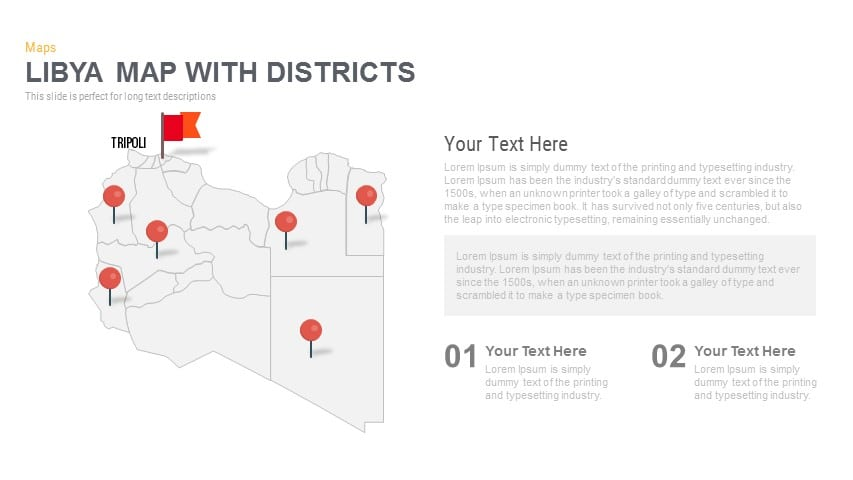 Libya Map With districts Powerpoint and Keynote template