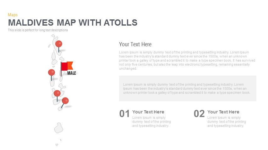 Maldives Map With atolls Powerpoint and Keynote template