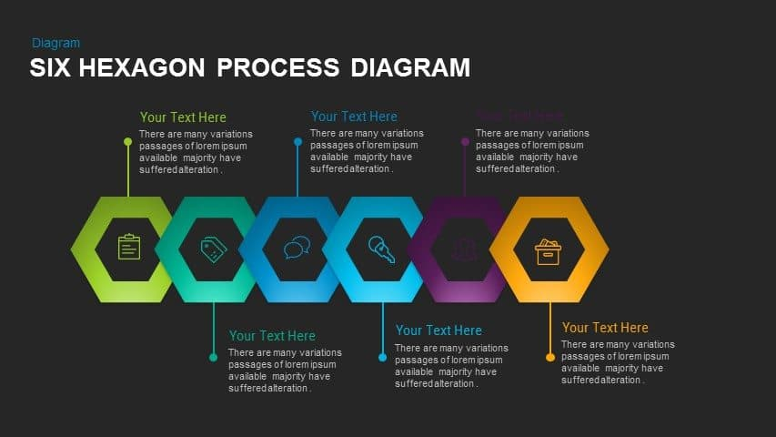 Six Hexagon Process Diagram Powerpoint and Keynote template