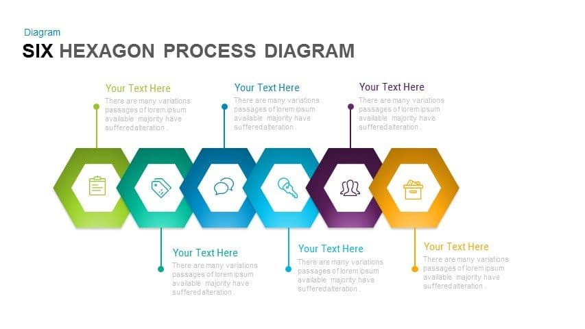 6 Hexagon Process Diagram PowerPoint Template