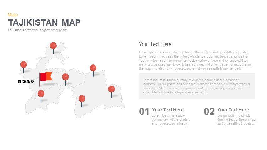 Tajikistan Map Powerpoint and Keynote template