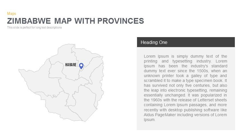Zimbabwe Map With provinces Powerpoint and Keynote template