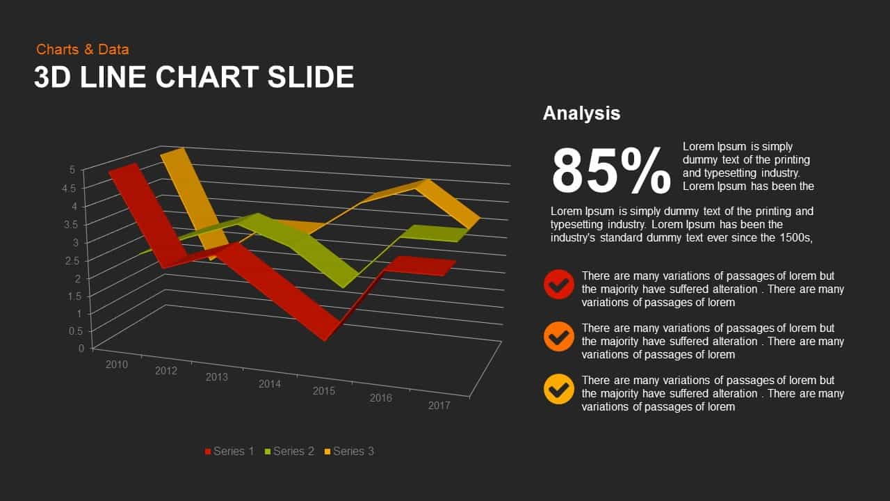 3d Line Chart Powerpoint and Keynote Slide