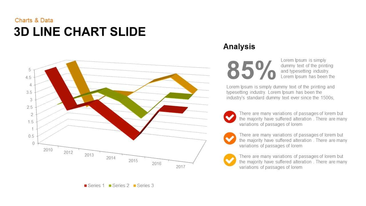 3d line chart PowerPoint template and keynote