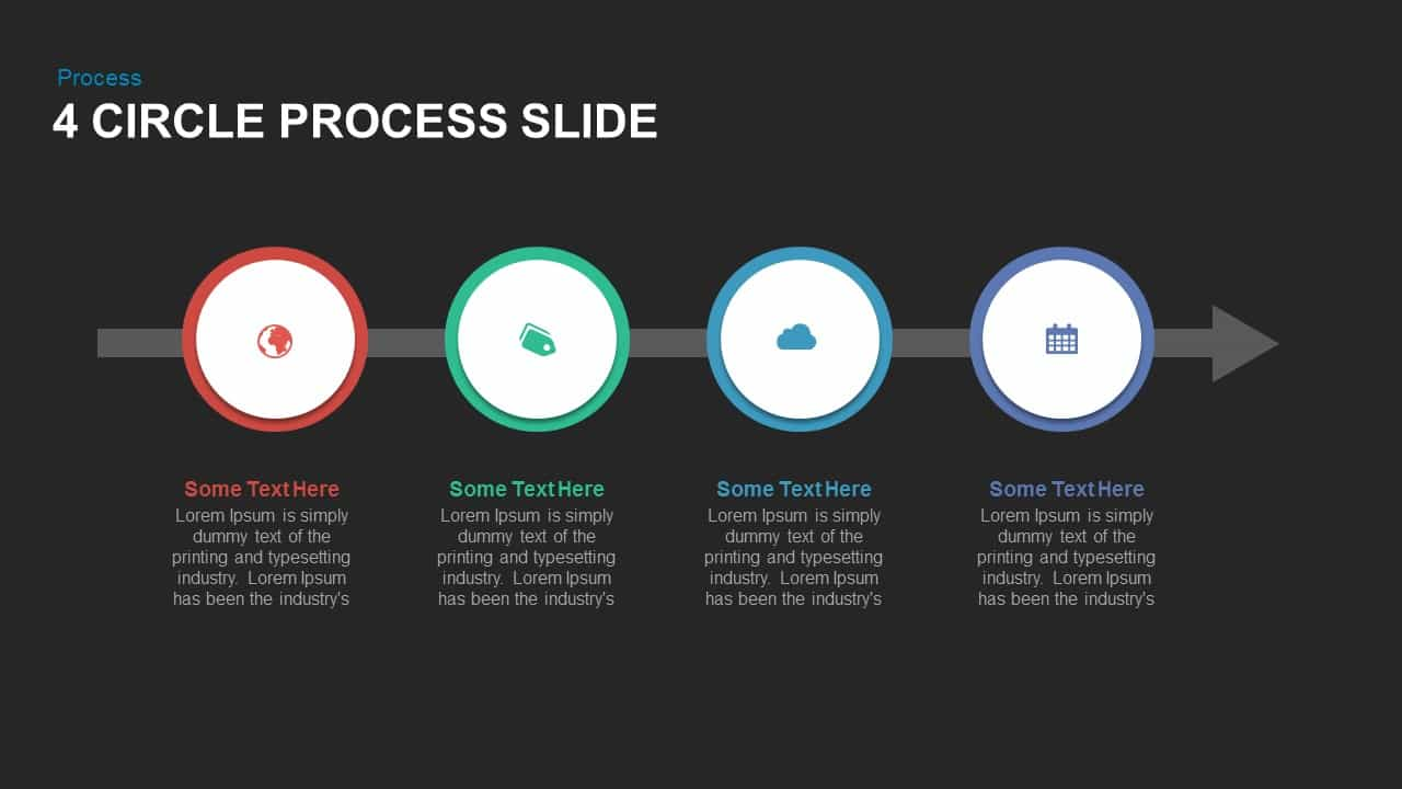 4 Circle Process Powerpoint and Keynote Slide