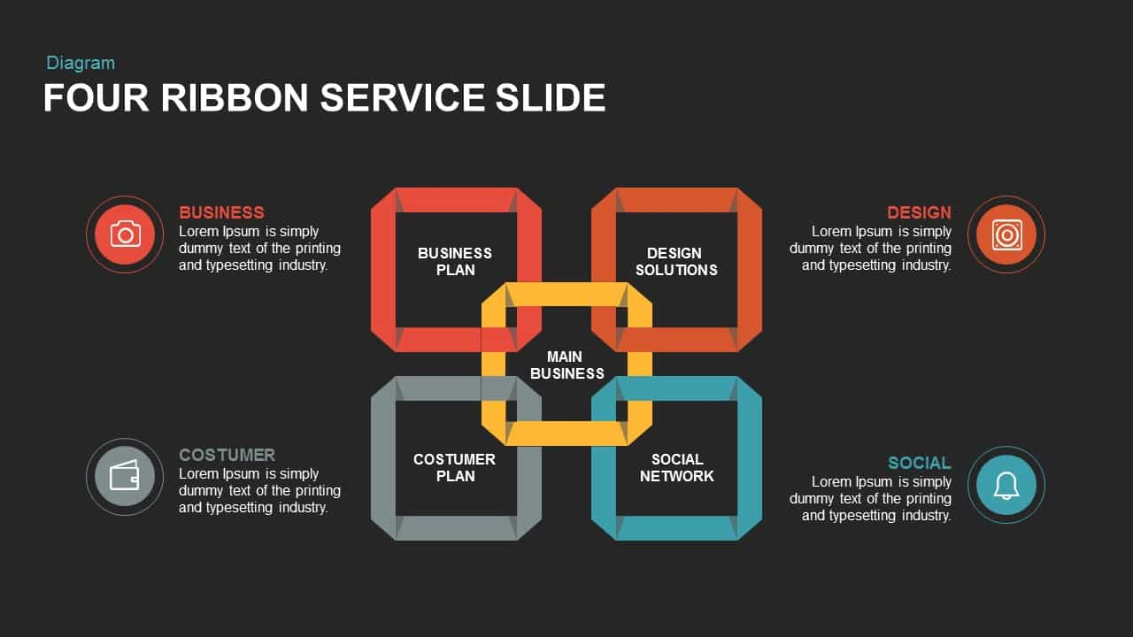 4 ribbon service PowerPoint template and keynote