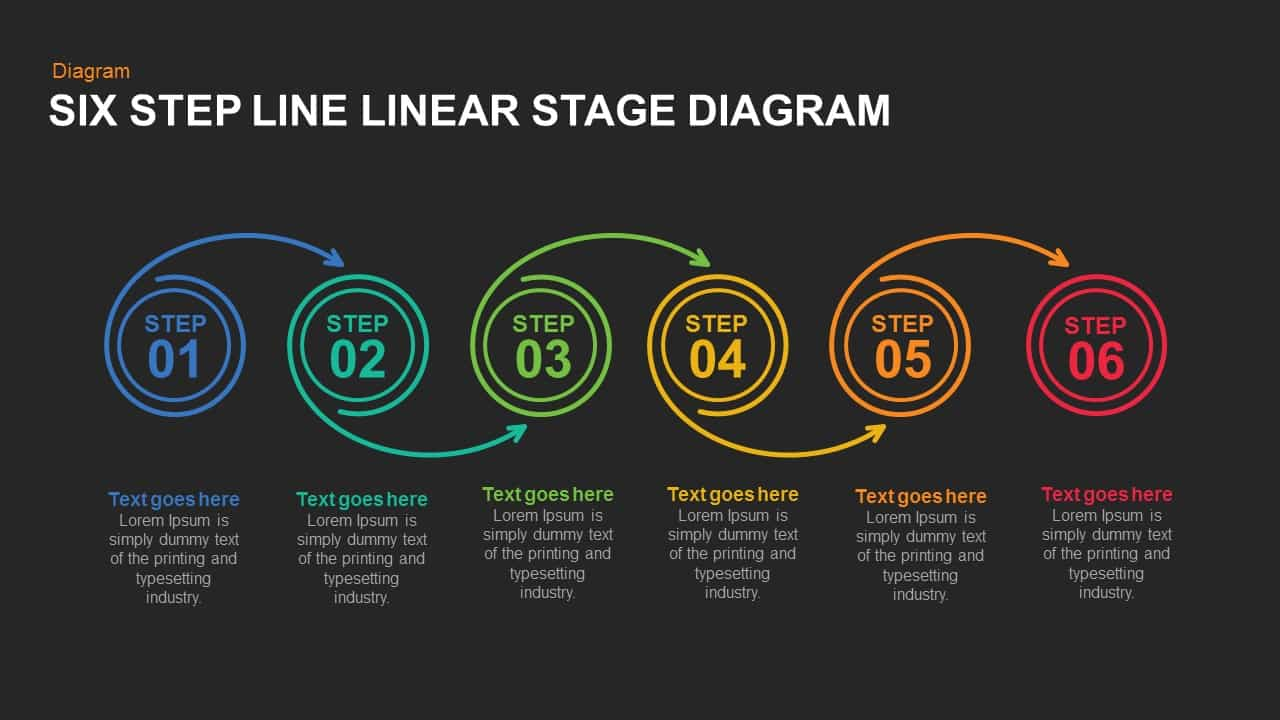 5 and 6 Steps Linear Line Diagram Template for PowerPoint and Keynote