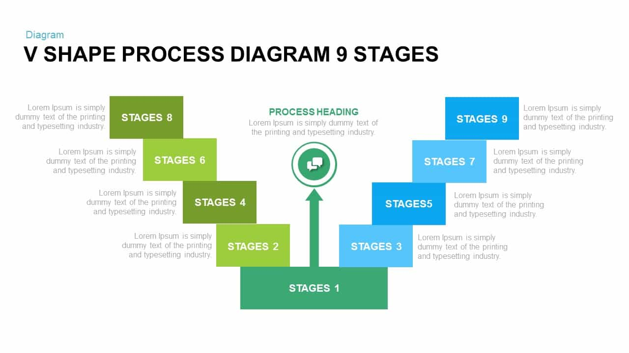 v shape process diagram PowerPoint template