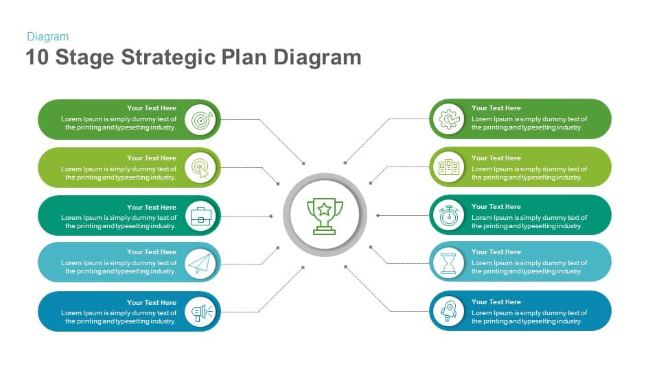 10 Stage Strategic Plan Diagram PowerPoint Template