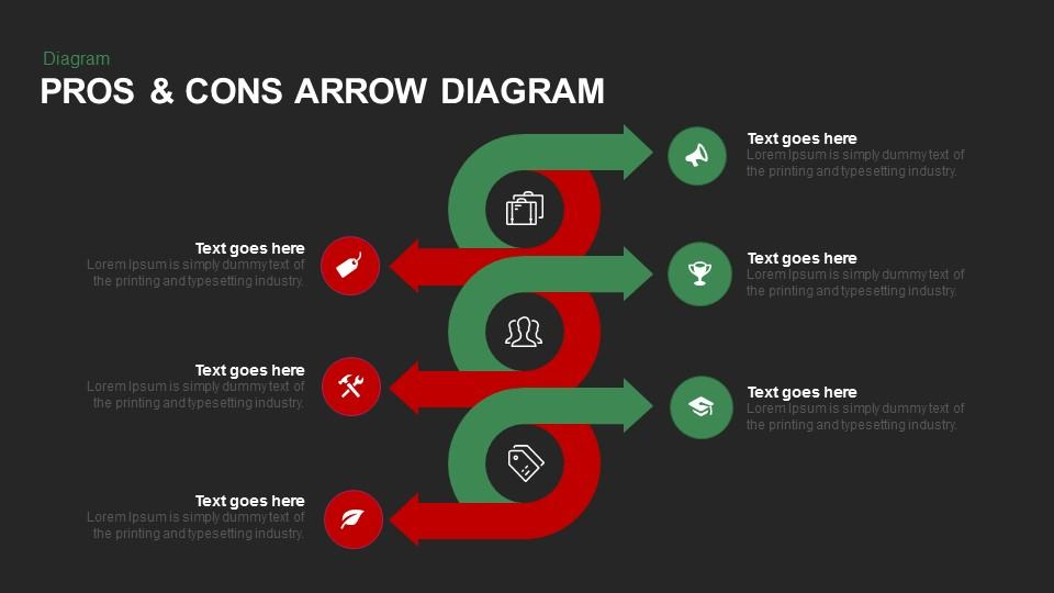 Pros & Cons Arrow Diagram
