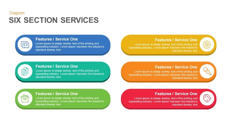 Six Service Boxes Keynote and Powerpoint Template