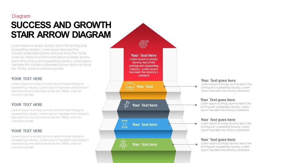 Success and Growth Stair Arrow Diagram Keynote And Powerpoint Template