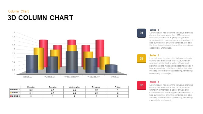 3D Column Chart Powerpoint Template