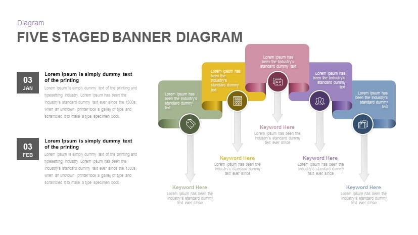 Five Staged Banner Diagram Powerpoint and Keynote Template