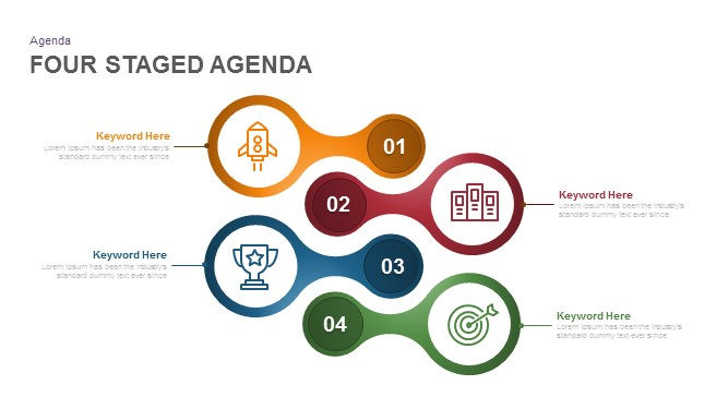 4 staged agenda PowerPoint template and keynote