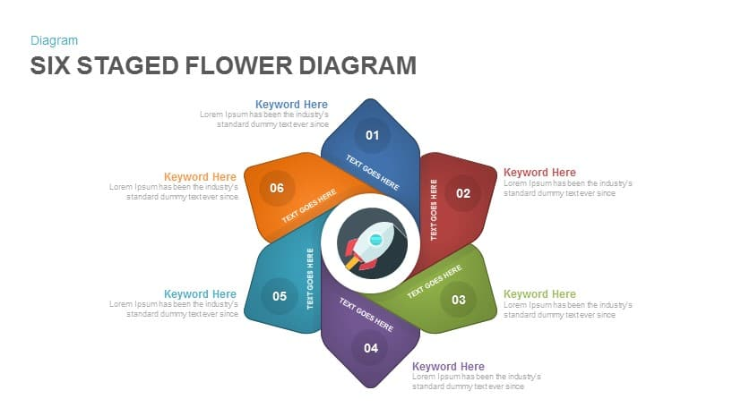 6 staged flower diagram PowerPoint template and keynote