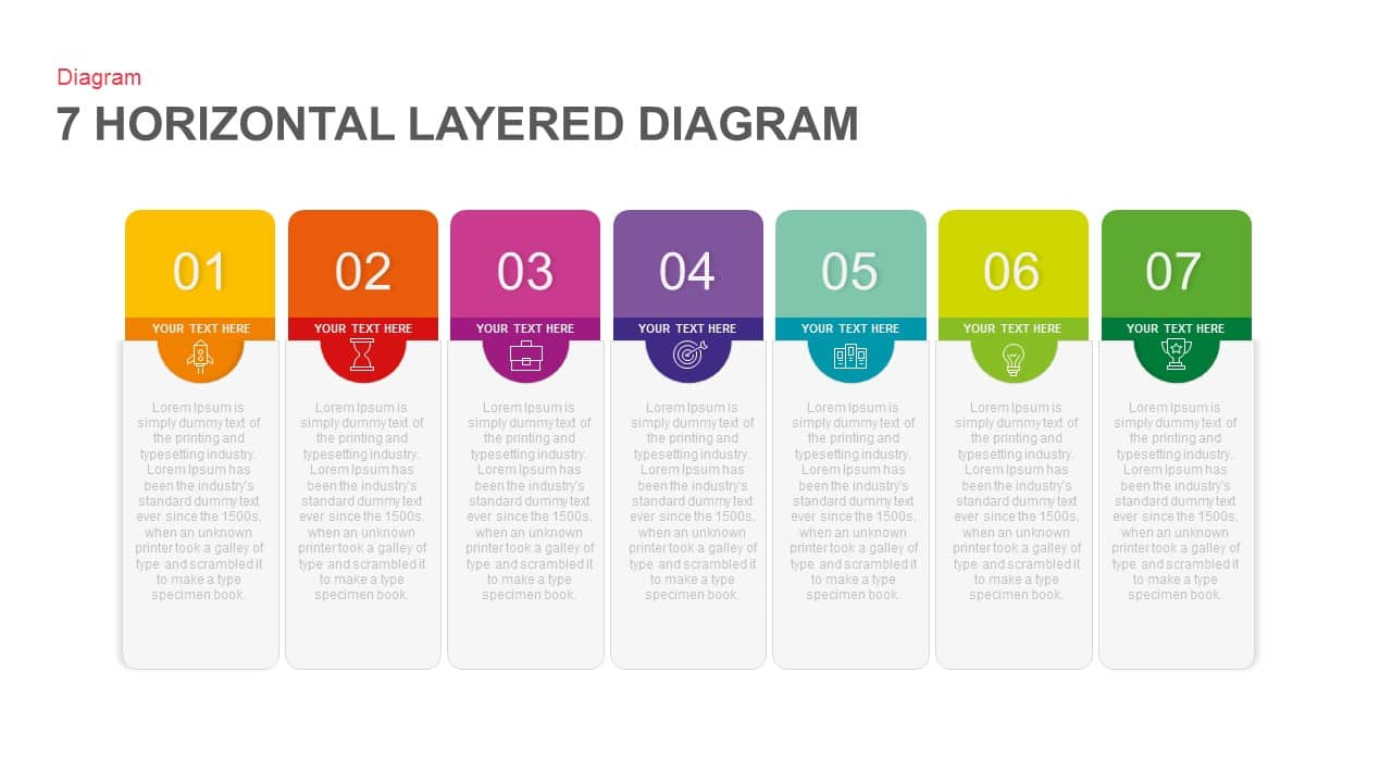 7 Horizontal Layered Diagram Powerpoint and Keynote template