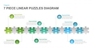 7 Section Linear Puzzle Diagram Template for PowerPoint and Keynote