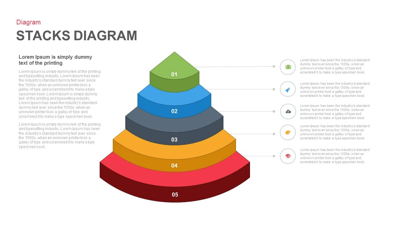 Stacks diagram PowerPoint Template and Keynote