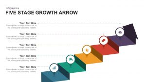 5 Stage Growth Arrow PowerPoint Template and Keynote Slide