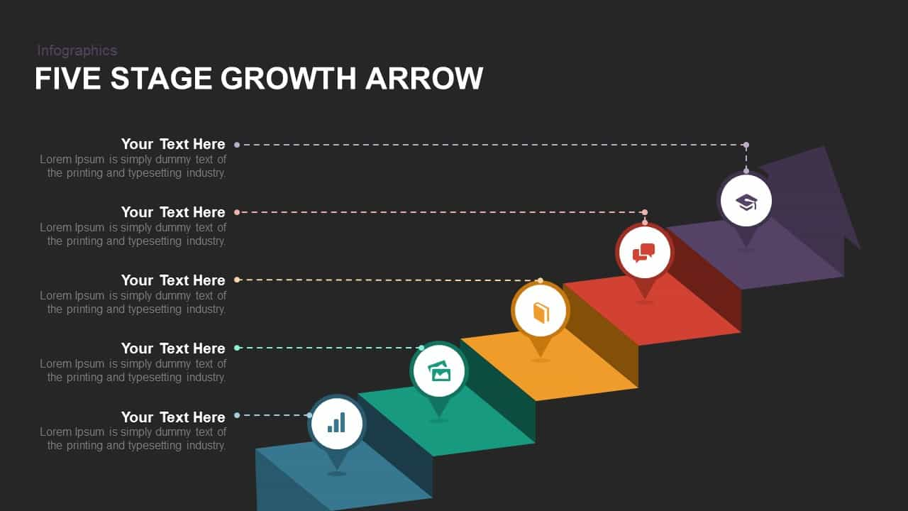 Five Stage Growth Arrow Powerpoint template