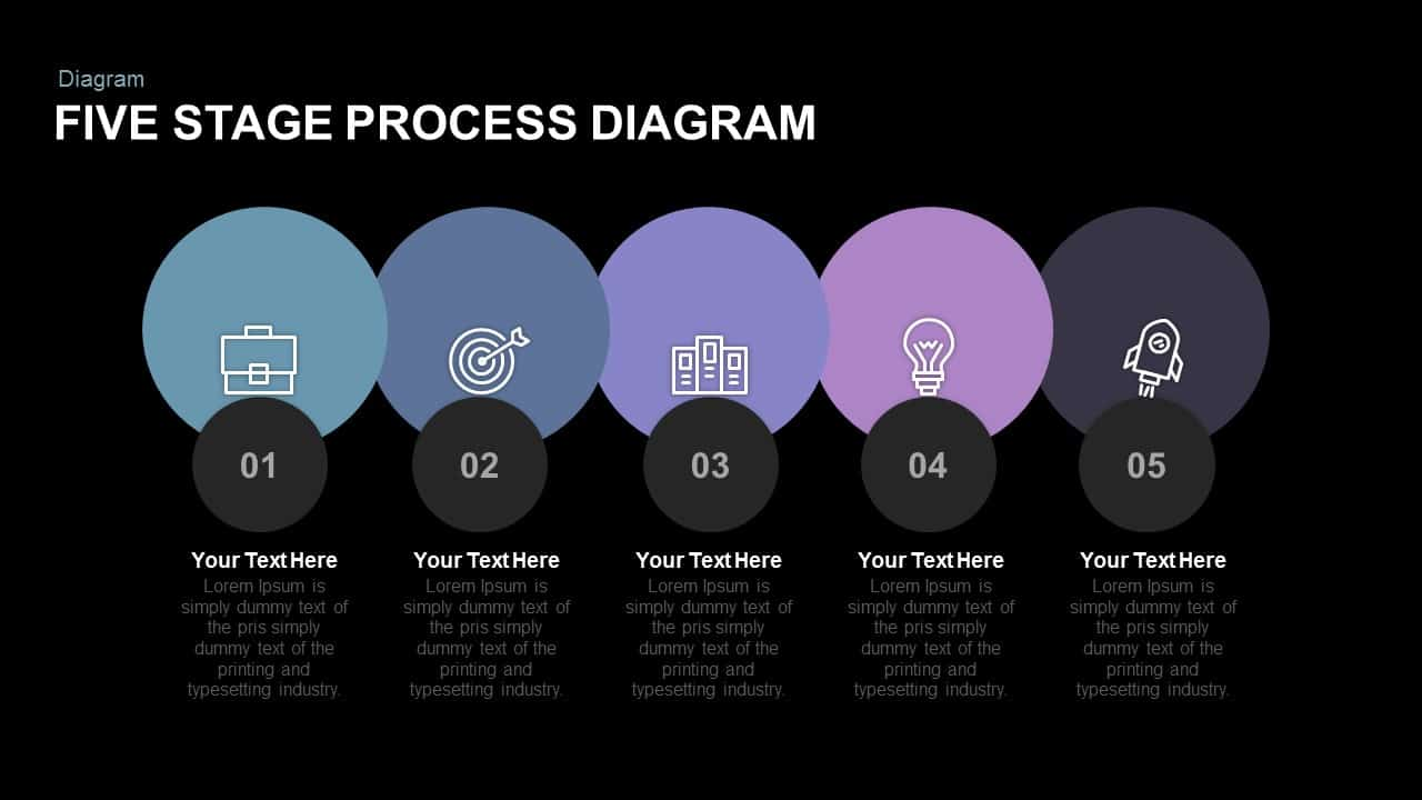 Five Stage Process Diagram Free Powerpoint And Keynote Template