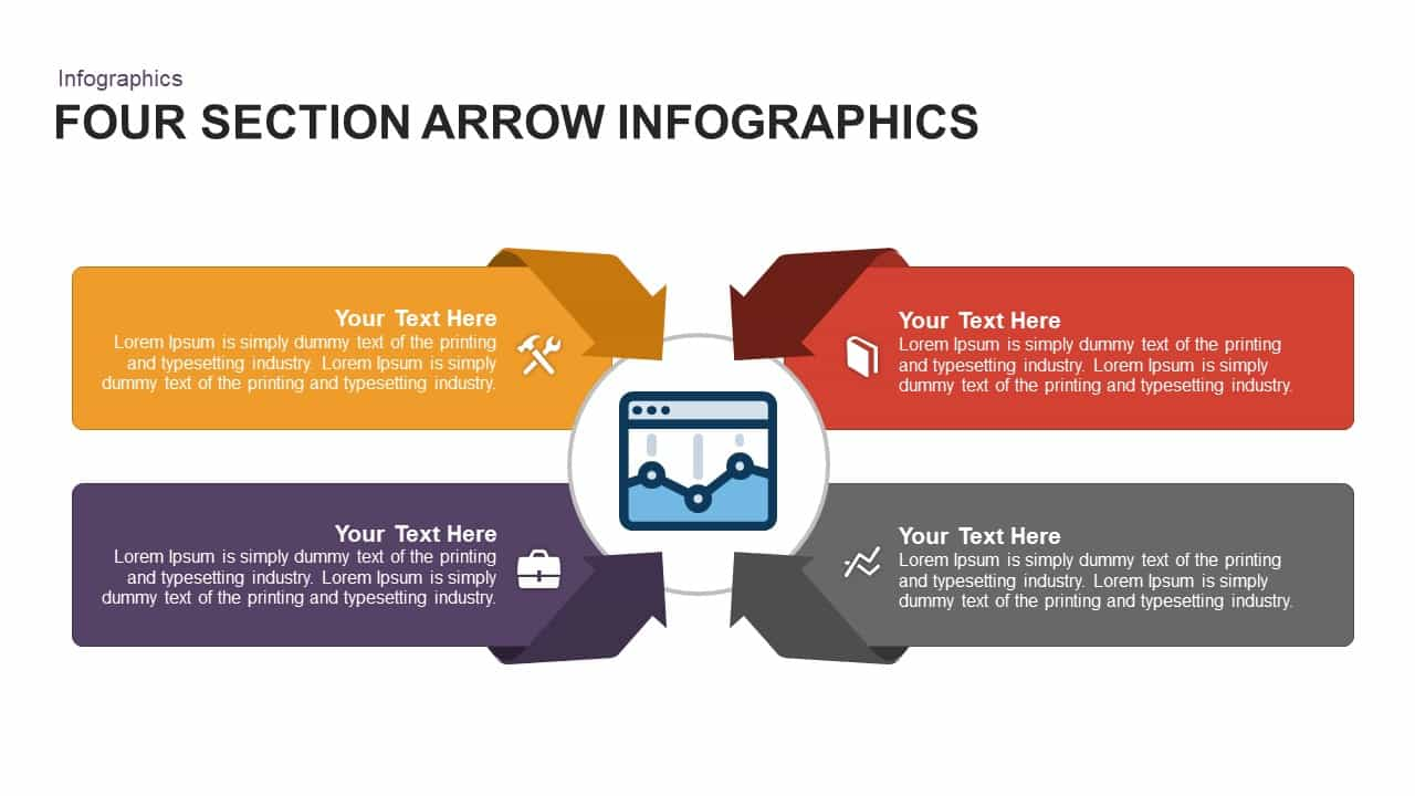 4 section infographic arrow PowerPoint template and keynote