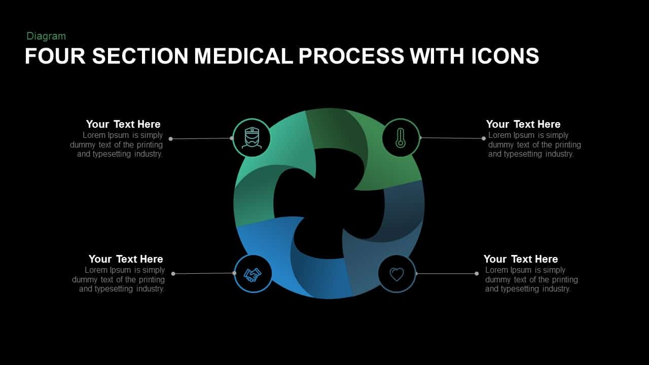 Four Section Medical Process With Icons Powerpoint and Keynote template