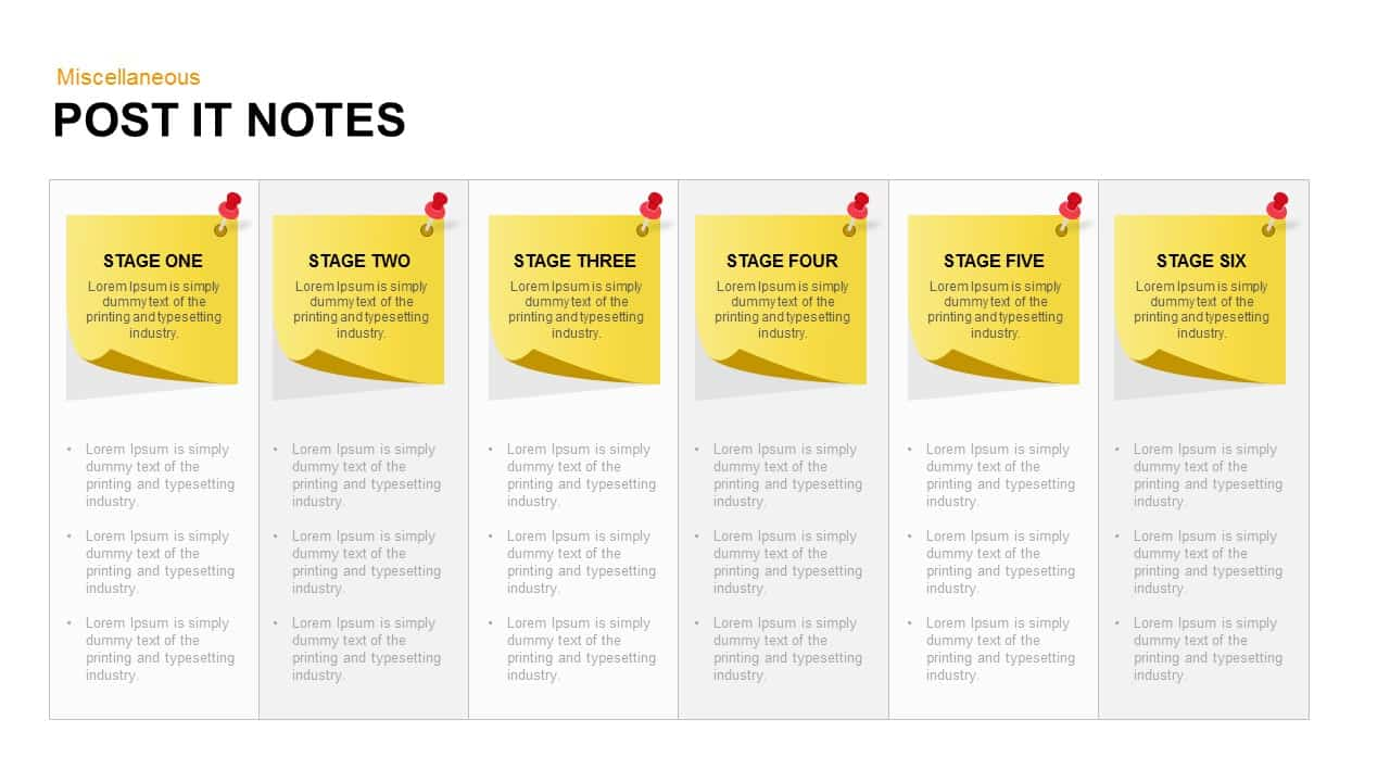 post it notes powerpoint template and keynote slide