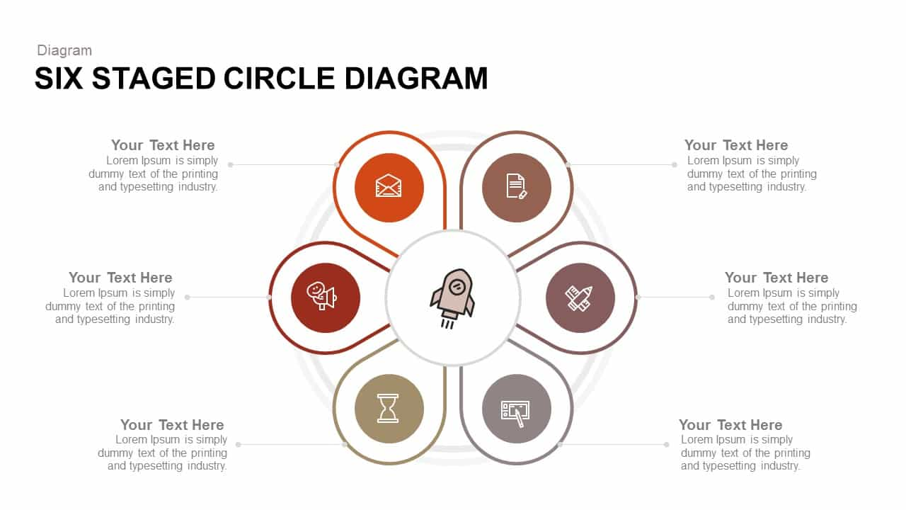 6 Staged Circle Diagram Template for PowerPoint and Keynote
