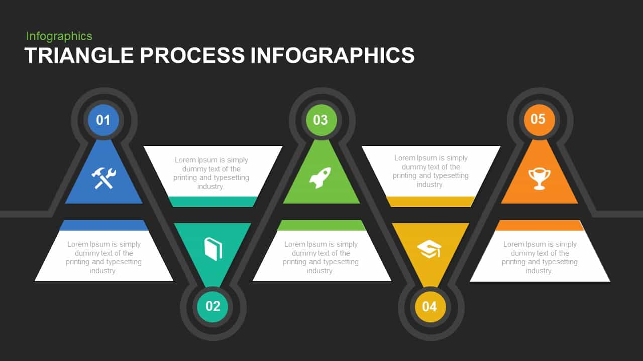 Infographic triangle process PowerPoint template and keynote slide