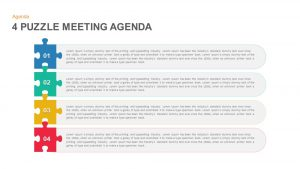 4 Puzzle Meeting Agenda PowerPoint Template and Keynote