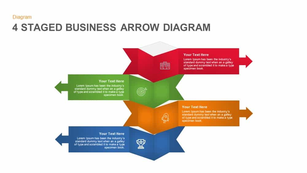 4 Staged Business Arrow Diagram Template for PowerPoint