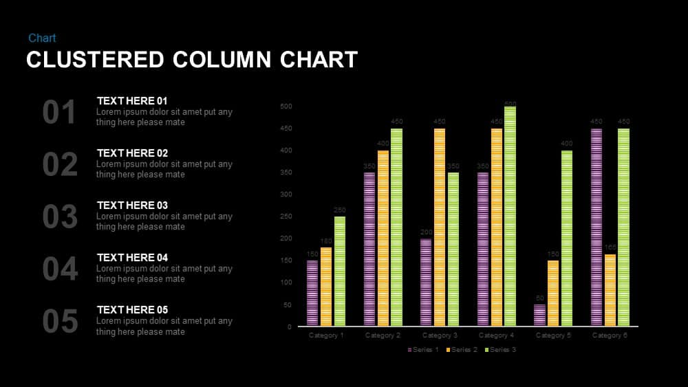Clustered Column Chart PowerPoint Template