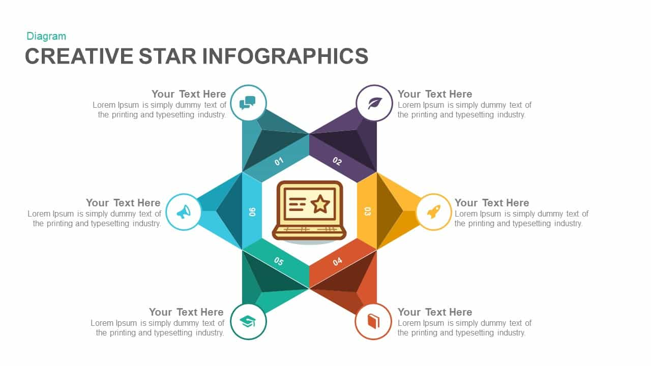 creative infographics star PowerPoint template and keynote