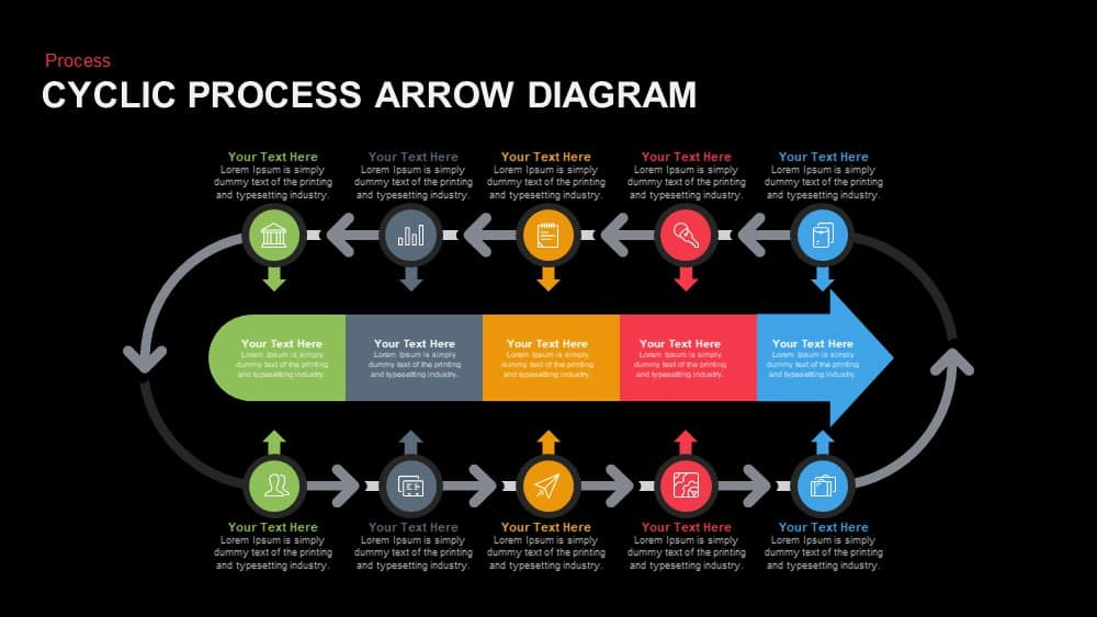 Cyclic Process Arrow Diagram Powerpoint and Keynote template