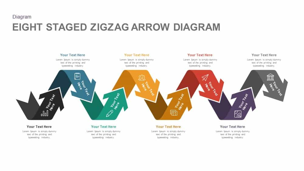 Eight Staged Zigzag Arrow Diagram Templates for PowerPoint and Keynote