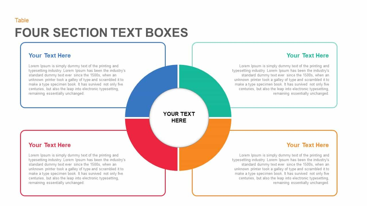 4 Section Text Boxes PowerPoint Template