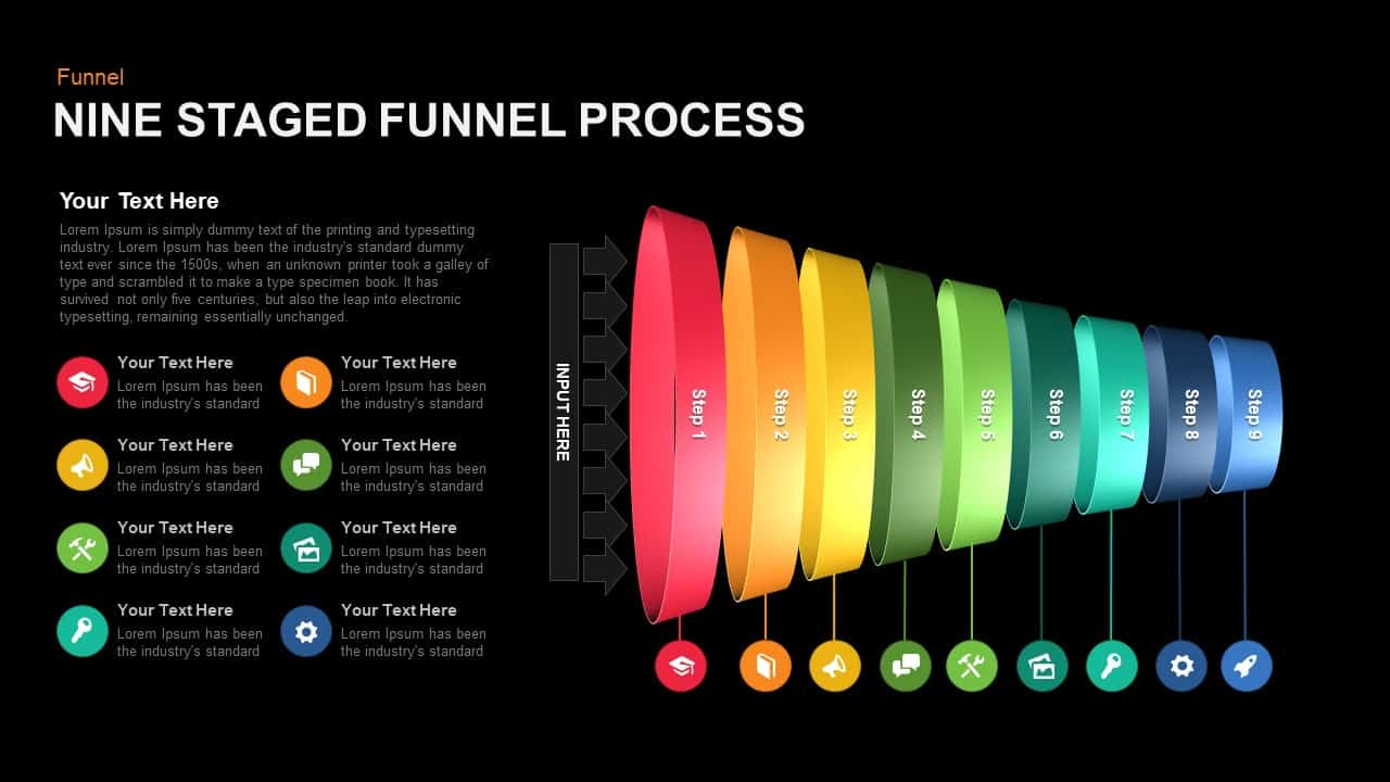 Nine Staged Funnel Powerpoint template