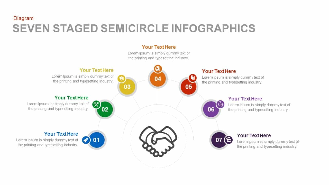 Seven Staged Semicircle Infographics Powerpoint and Keynote template