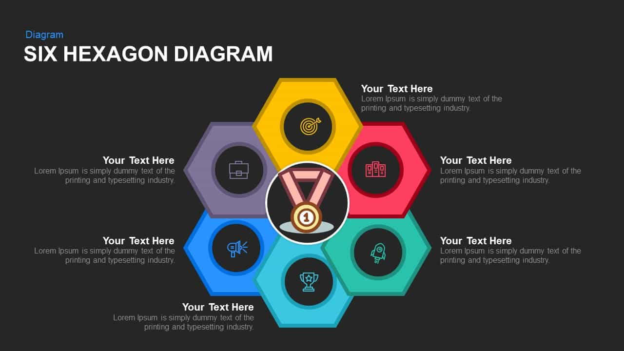 Six Hexagon Diagram Powerpoint template