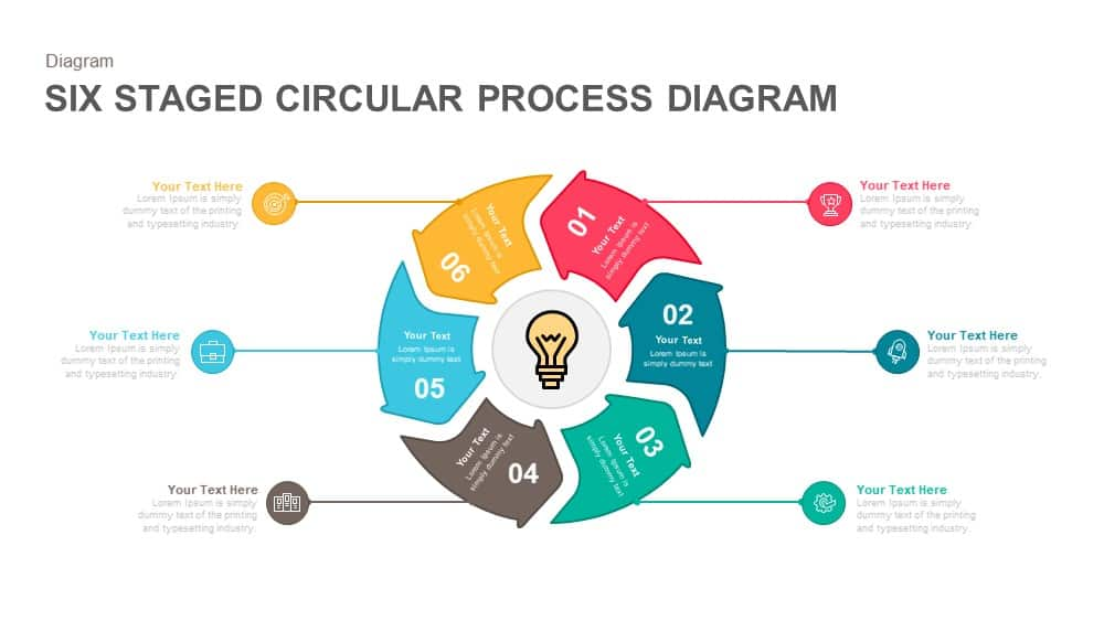 Six Staged Circular Process Diagram Powerpoint and Keynote template