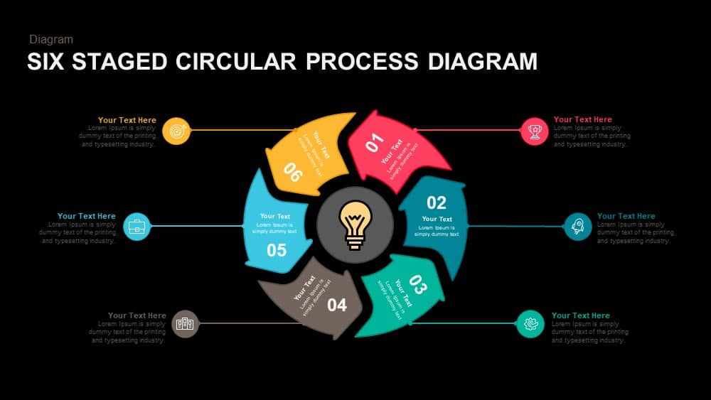 6 Staged Circular Process Diagram Powerpoint And Keynote