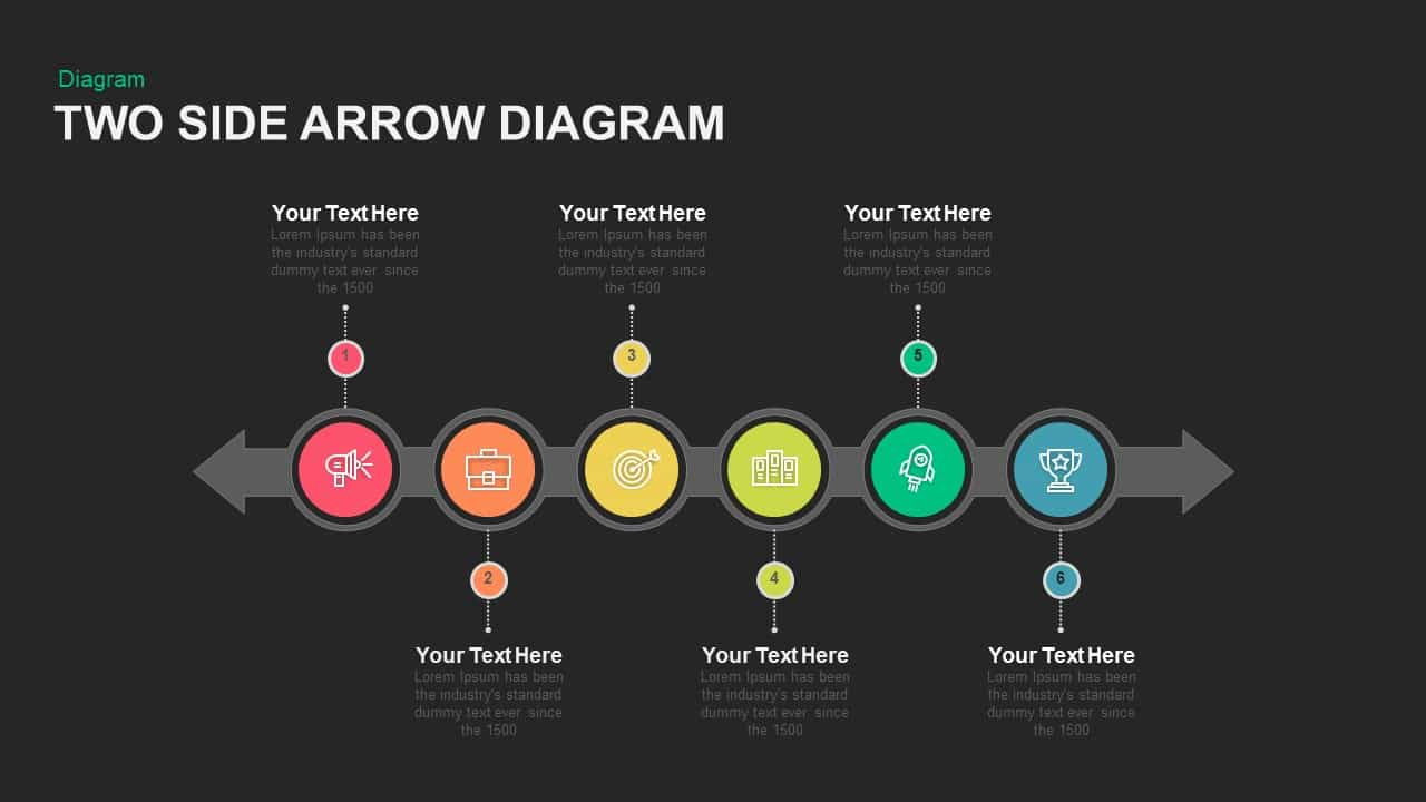 Two Sided Arrow Diagram PowerPoint Template and Keynote