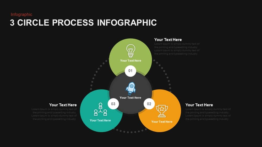 3 Circle Process Infographic Powerpoint and Keynote template