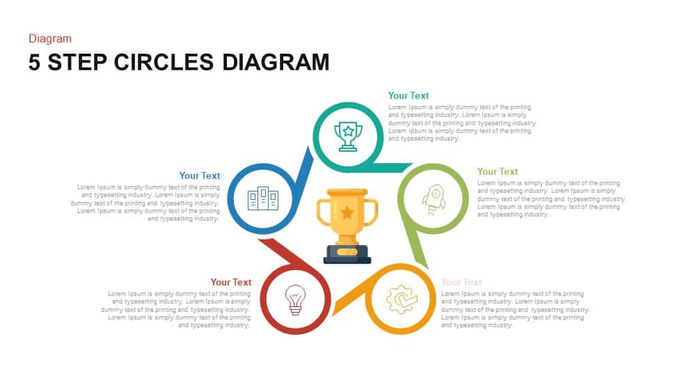5 Step Circles Diagram For Powerpoint And Keynote Template