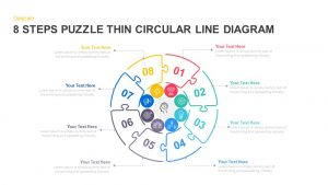 8 Steps Thin Line Circular Puzzle Diagram Template for PowerPoint and Keynote