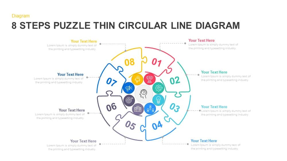 8 Steps Circular Puzzle Diagram Powerpoint Template And Keynote