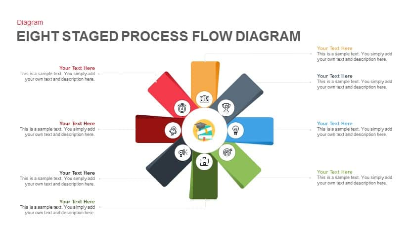 8 Staged Process Flow Diagram Powerpoint Template And Keynote